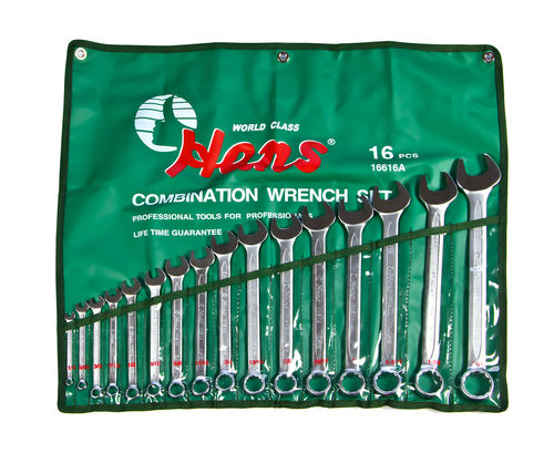 Combination Wrench Set 15° bent 6 - 22 mm in INCH seizes