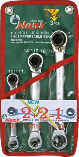 Reversible Ratchet Wrench 3 Pieces -> 12 Sizes in Bag