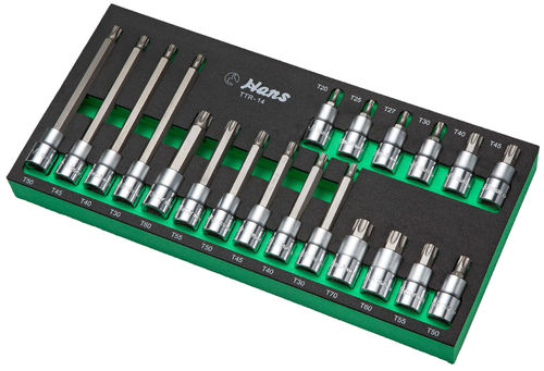 "1/2"" T-Star Socket Set 3 lengths in PU-Tray"
