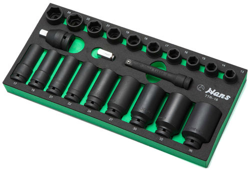 "1/2"" Deep Impact Sockets with Accessories in PU-Tray"